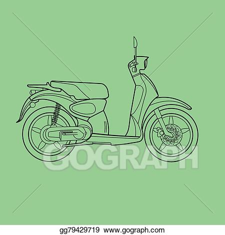 Scooter clipart scooter line. Vector illustration drawing eps