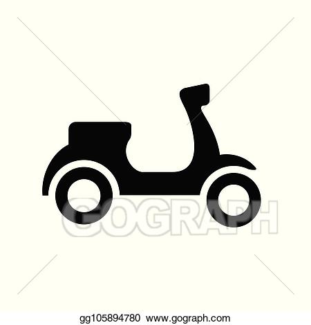 Vector stock black and. Scooter clipart silhouette