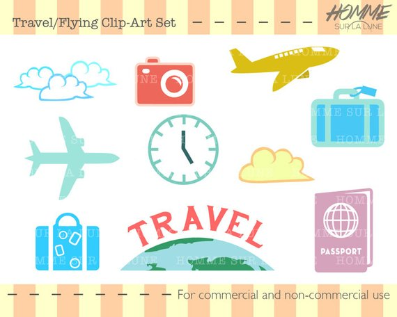 Travel icons scrapbooking supplies. Scrapbook clipart
