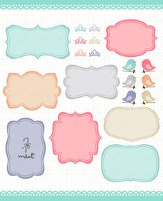 Free vector frames labels. Scrapbook clipart