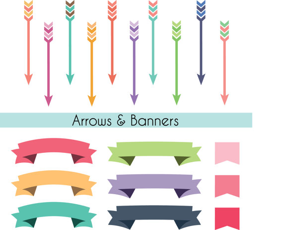 Scrapbook clipart. Arrows tribal banners clip