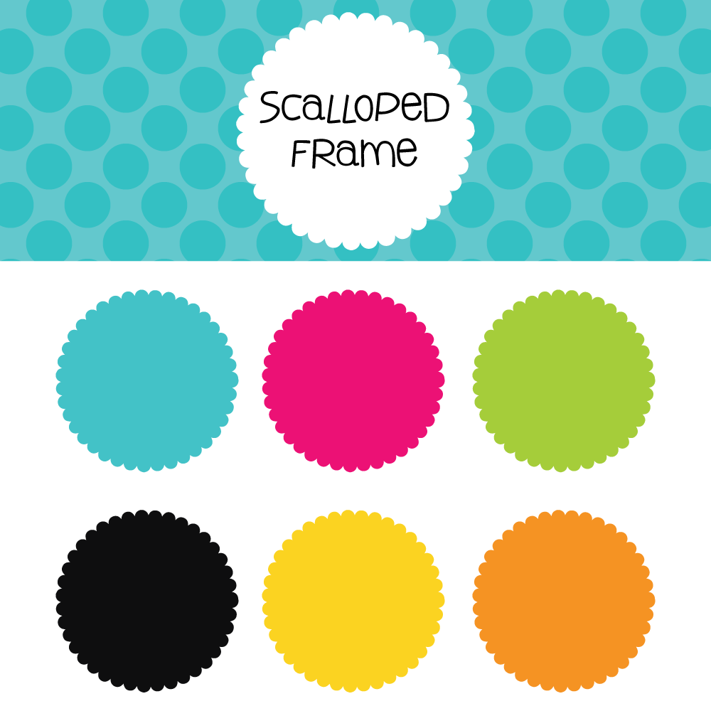 Scalloped frame free download. Scrapbook clipart circle