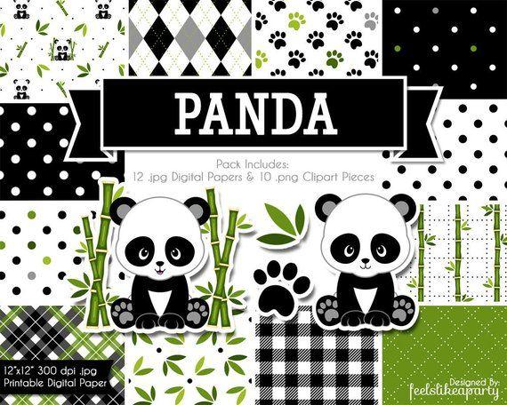 Scrapbook clipart pandas. Panda digital paper and