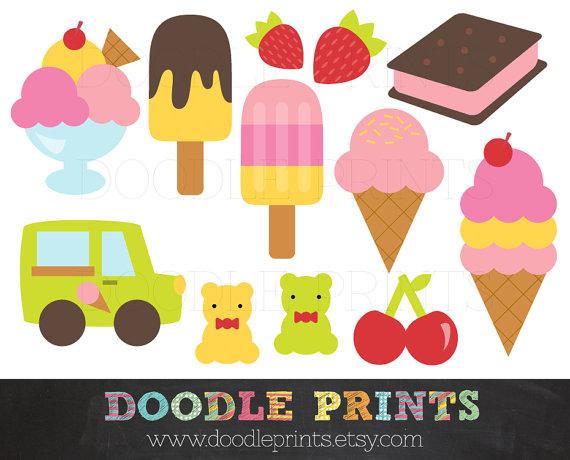 Ice cream clip art. Scrapbook clipart printable