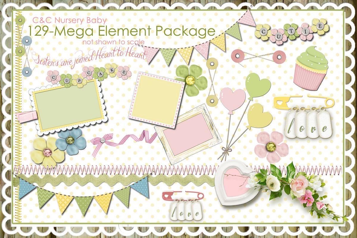 Nursery baby pastel collections. Scrapbook clipart scrapbook cover