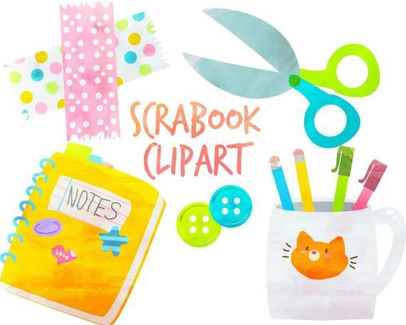 Scrapbook clipart scrapbook cover. Cute school supplies washi