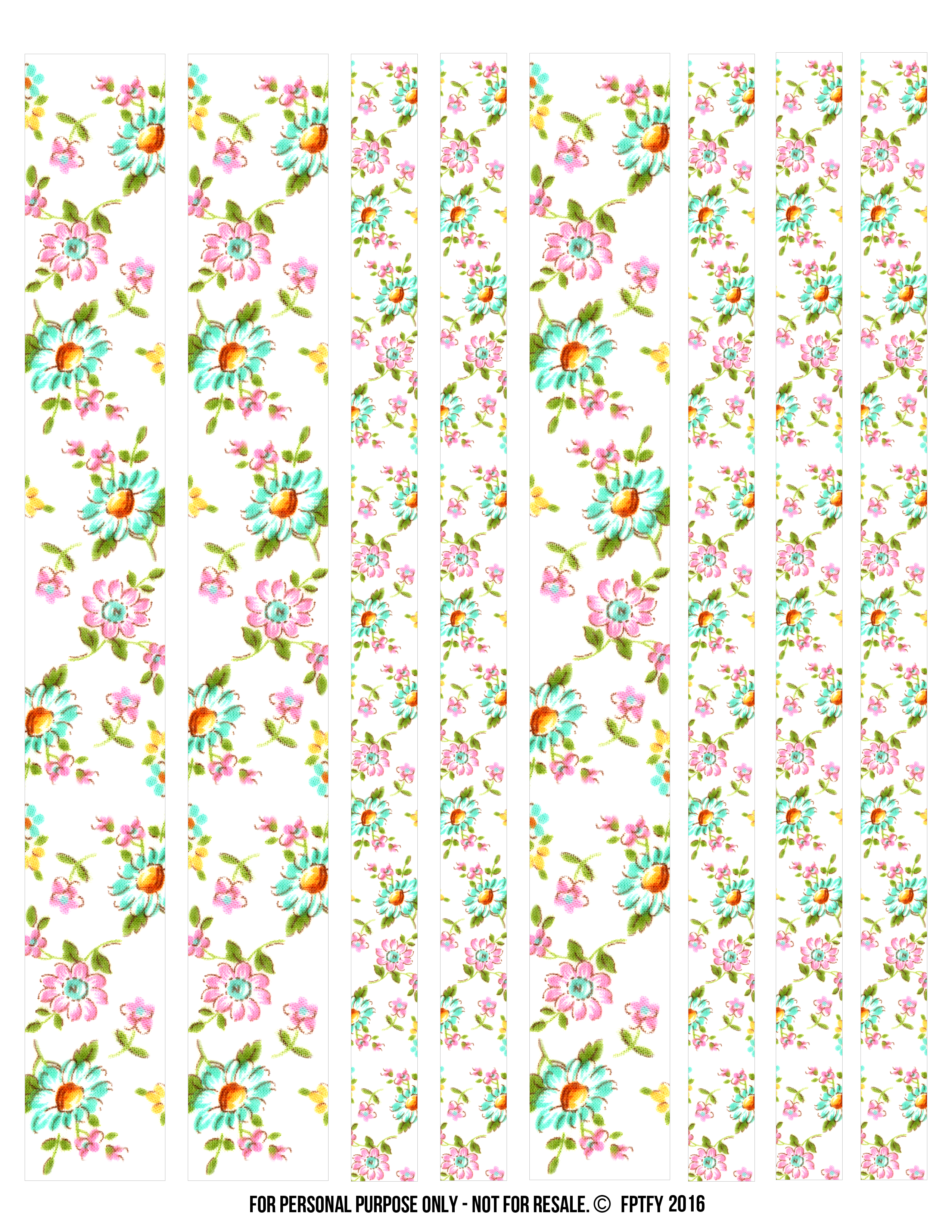 Free floral digital washi. Scrapbook clipart tape