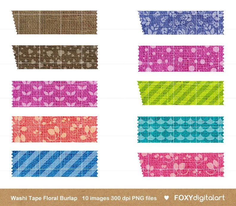 Digital washi png files. Scrapbook clipart tape