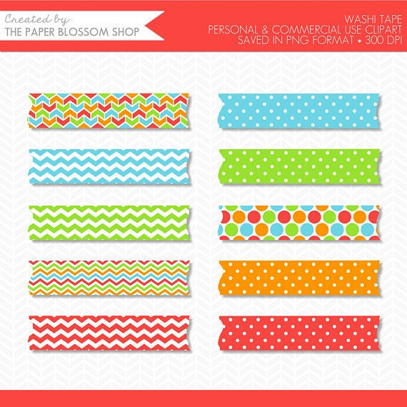Scrapbook clipart tape. Primary color washi clip