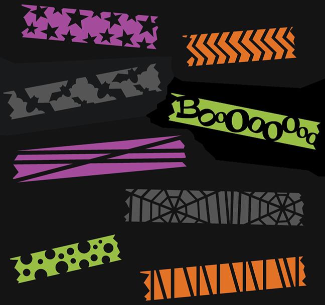 Scrapbook clipart tape. Halloween washi svg cut