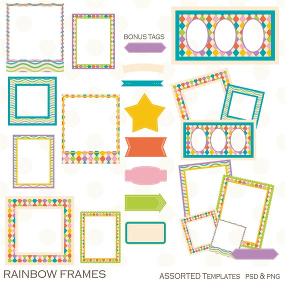 Rainbow frames digital mixed. Scrapbook clipart template