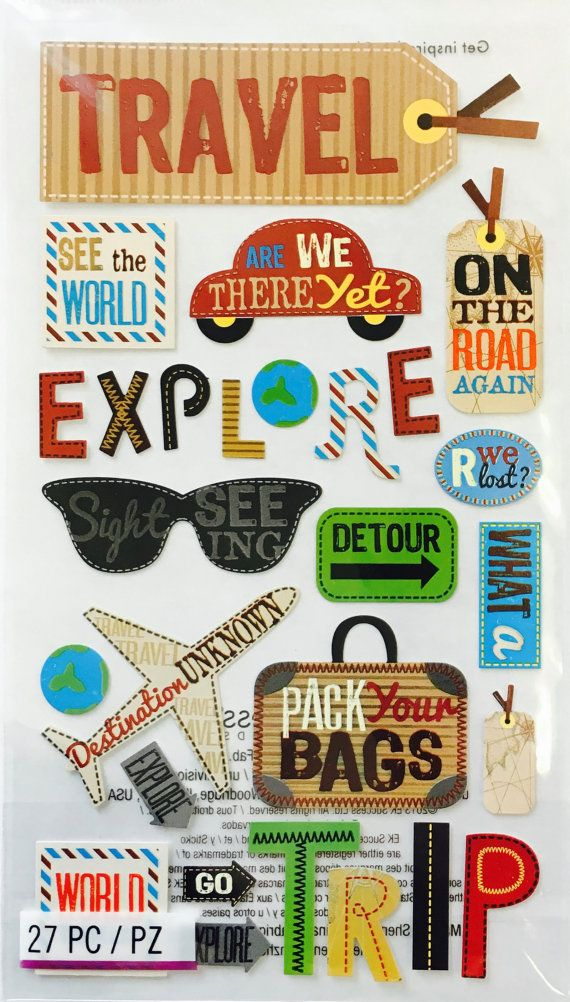 Vacation stickers planner invites. Scrapbook clipart travel journal