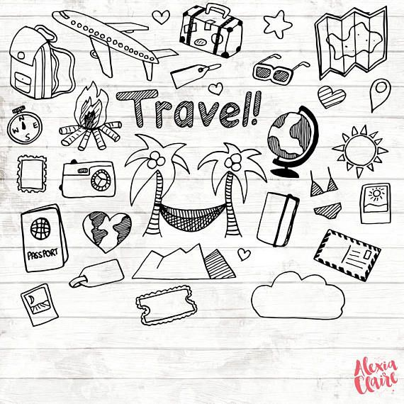 Hand drawn vacation png. Scrapbook clipart travel journal