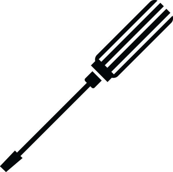 Black and white letters. Screwdriver clipart