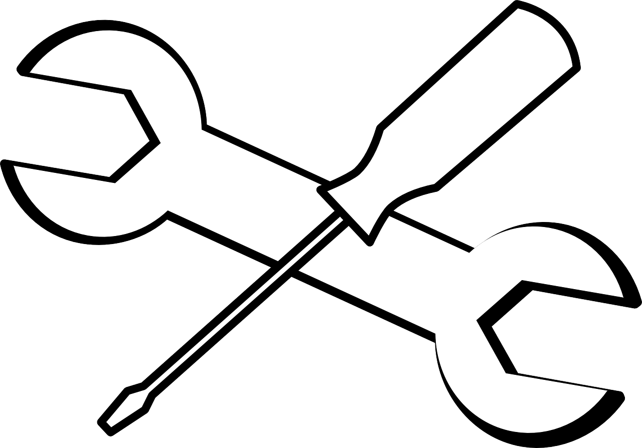 Screwdriver clipart black and white. Wrench tools png image