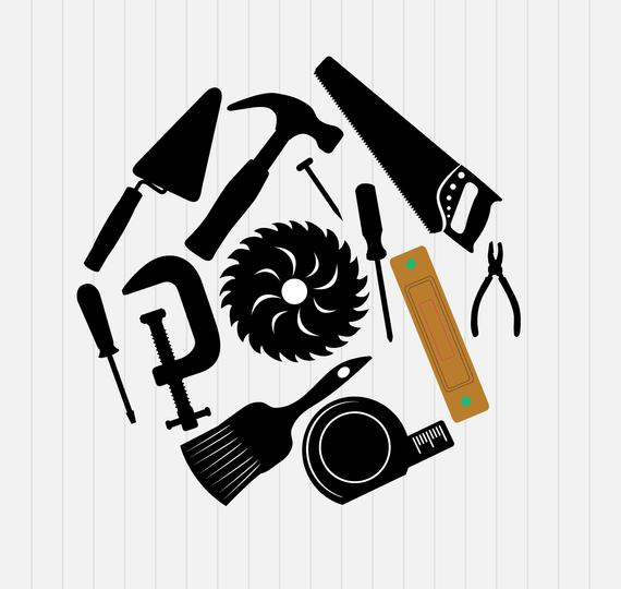 Svg hammer garden tools. Screwdriver clipart construction tool