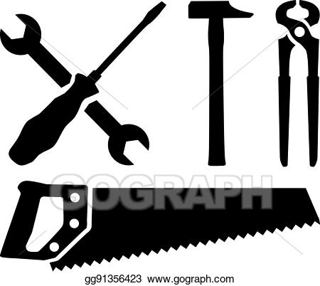 Vector stock work tools. Screwdriver clipart saw