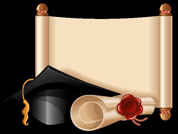 Diploma and graduation cap. Scroll clip art artistic