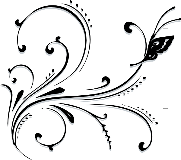 Scroll clip art black and white. Butterfly vector online royalty