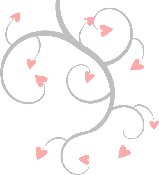 Pink and grey scroll. Clipart heart vine