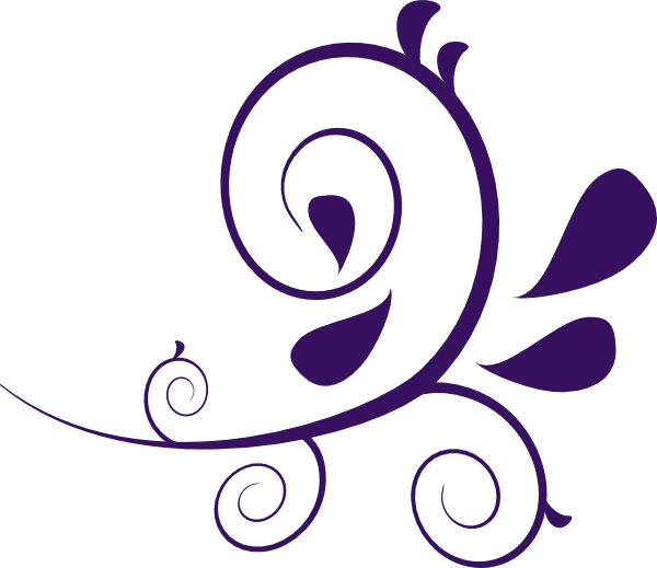 Scroll clip art filigree. Flower swirl purple without