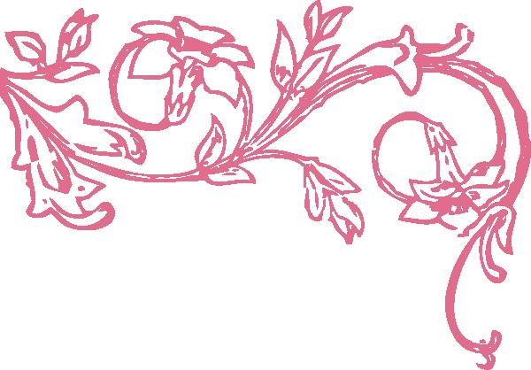 Scroll clip art filigree. Swirl pink decor border