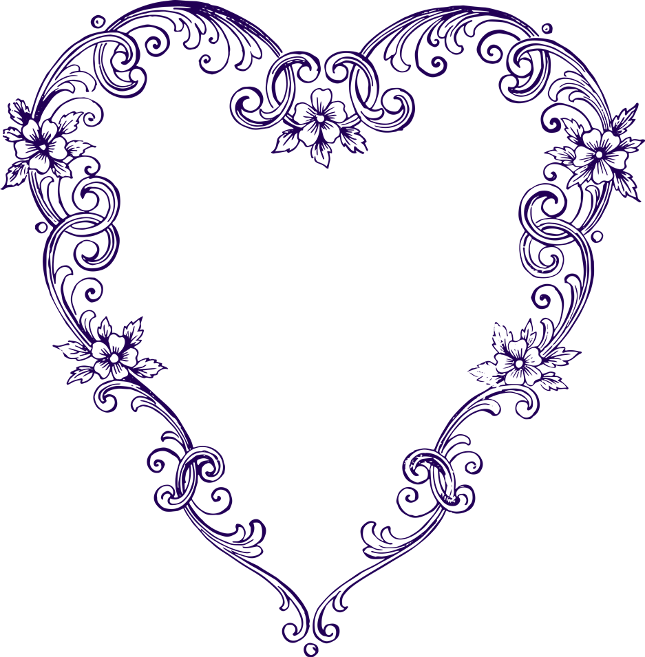 Classic heart scroll pencil. Funeral clipart fancy