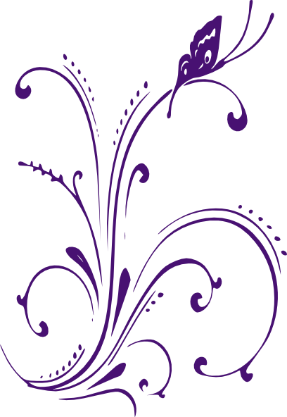 Scroll clip art swirl. Butterfly border new purple