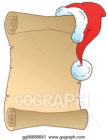 Eps illustration with hat. Scroll clipart christmas