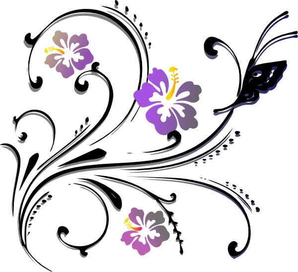 Butterfly clip art at. Scroll clipart floral scroll