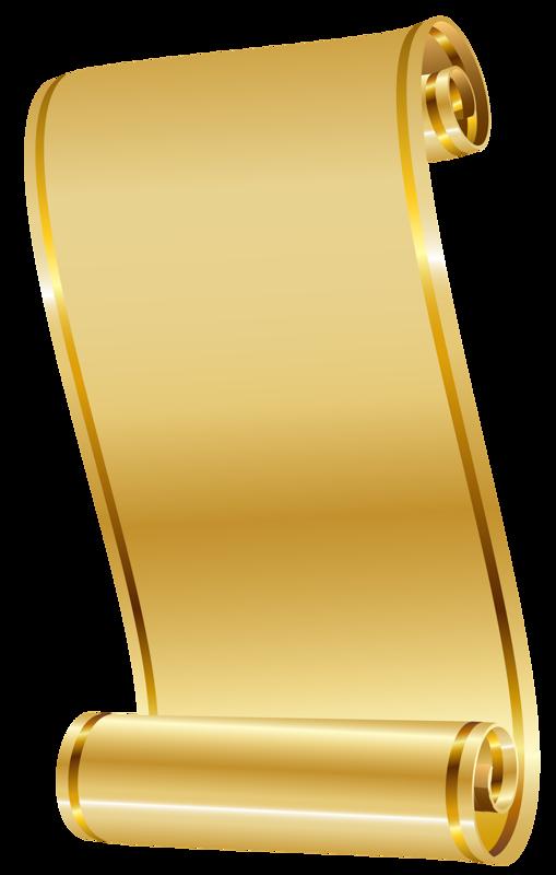 Parchemins papiers pergaminhos rollos. Scroll clipart gold