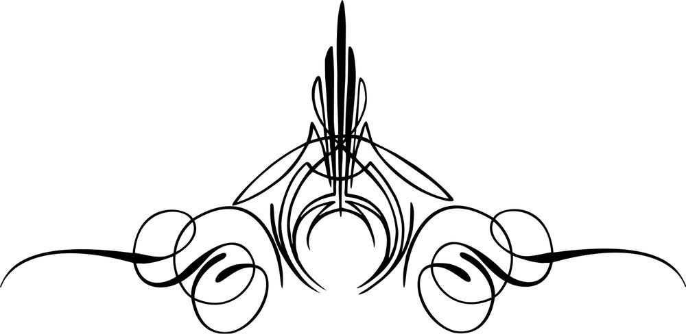 Custom graphic center decal. Scroll clipart pinstriping