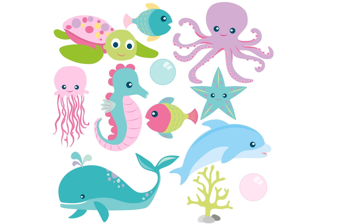 Animals clipart ocean. Girls sea and digital