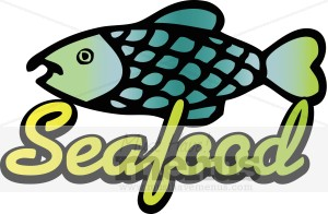 Fish cartoon with text. Seafood clipart