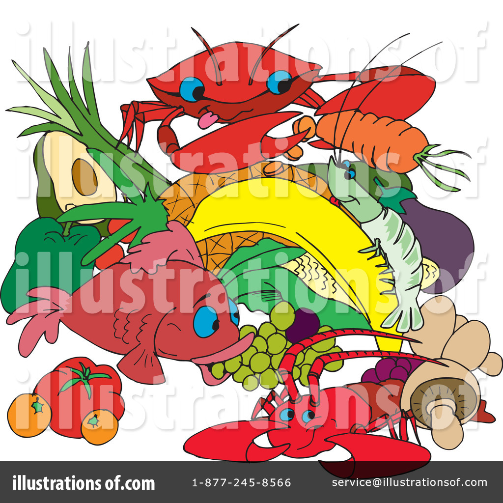 Seafood clipart. Illustration by dennis holmes