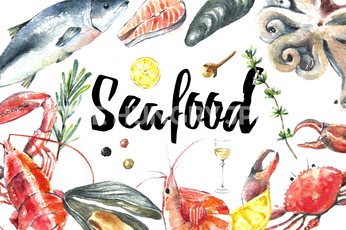 Seafood clipart. Watercolor clip art by