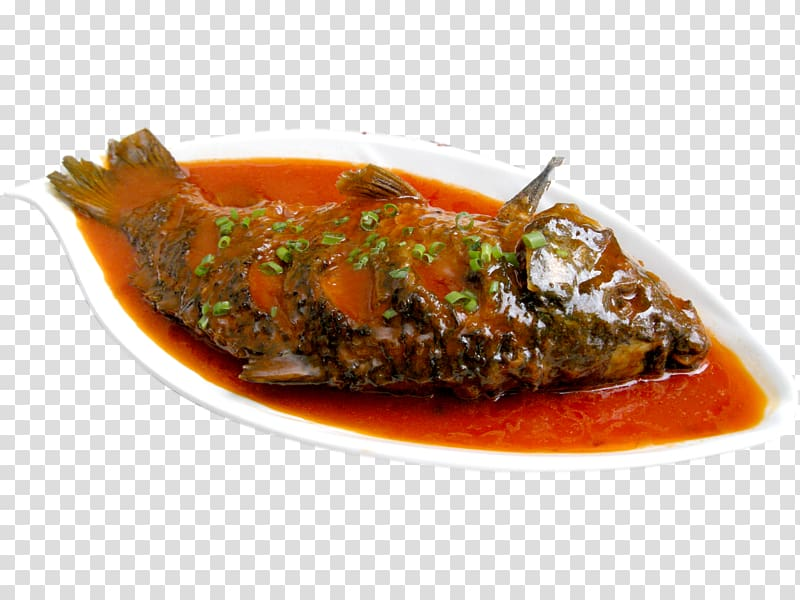 Red braised pork belly. Seafood clipart fish curry