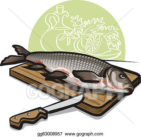 Seafood clipart raw fish. Vector stock fresh illustration