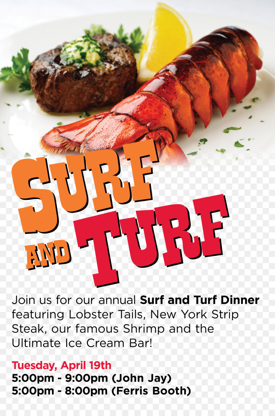 Seafood clipart surf and turf. Junk food cartoon advertising