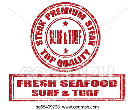 Vector stock stamps illustration. Seafood clipart surf and turf