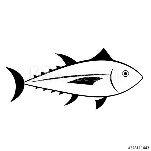 Outline icon seafood isolated. Tuna clipart raw fish