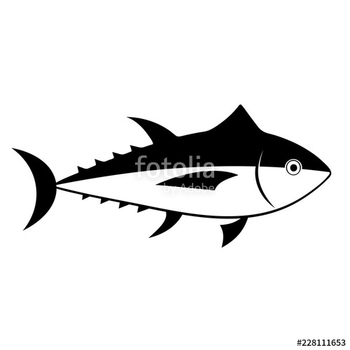 Silhouette icon isolated on. Seafood clipart tuna fish