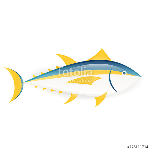Seafood clipart tuna fish. Yellowfin icon isolated on