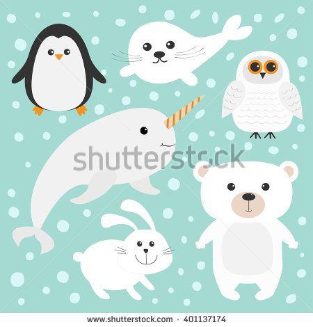 Polar animal set white. Seal clipart arctic fish