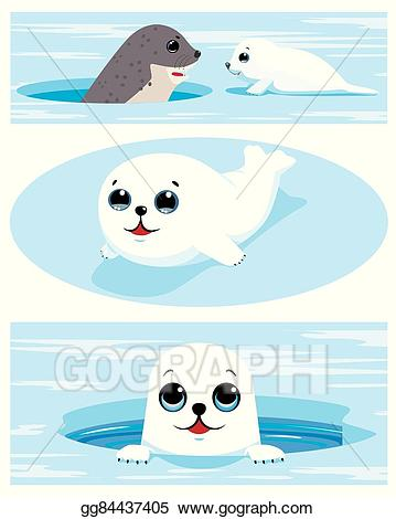 Vector set of images. Seal clipart seal pup