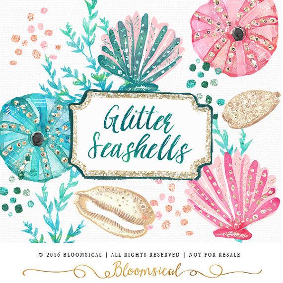 Glitter clip art glam. Seashells clipart