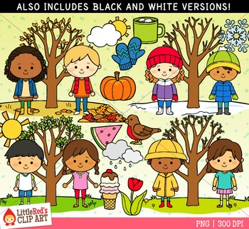 Seasons clipart. Four by littlered teachers