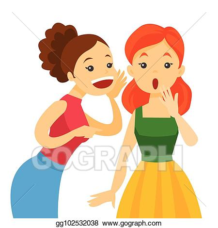 Eps vector caucasian woman. Whisper clipart gossip