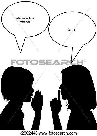 Shh silhouette women tell. Whisper clipart whisper secret