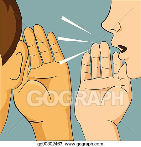 Vector art woman whispering. Whisper clipart secretly